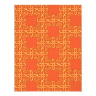 Orange Vintage Retro Pattern 11 Cm X 14 Cm Invitation Card