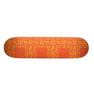 Orange Vintage Retro Pattern Skate Board