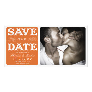 ORANGE VINTAGE  | SAVE THE DATE ANNOUNCEMENT PHOTO GREETING CARD