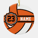 Orange Volleyball | DIY Name and Number Round Ceramic Decoration
