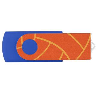 Orange Volleyball USB Flash Thumb Drive Swivel USB 2.0 Flash Drive