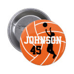 Orange Volleyball with Silhouette Player 6 Cm Round Badge