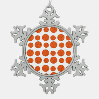 Orange volleyballs snowflake pewter christmas ornament