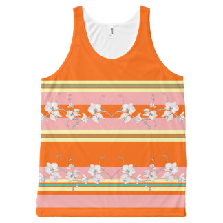 Orange w Pink Stripes All-Over Print Tank Top