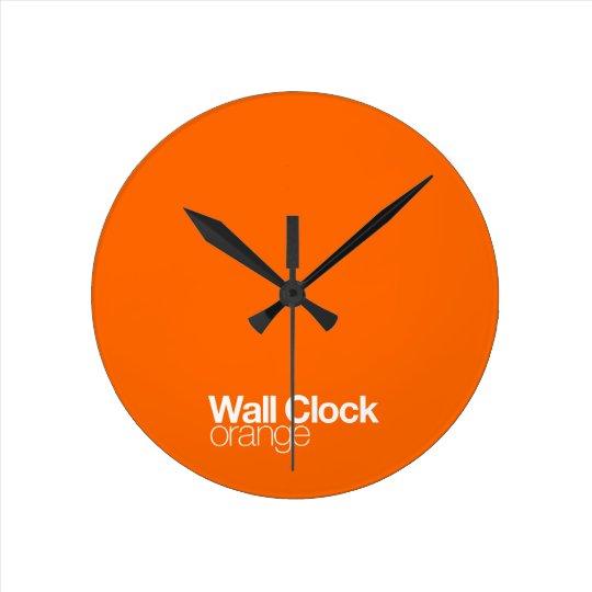 Orange Wall Clock Zazzle Co Uk