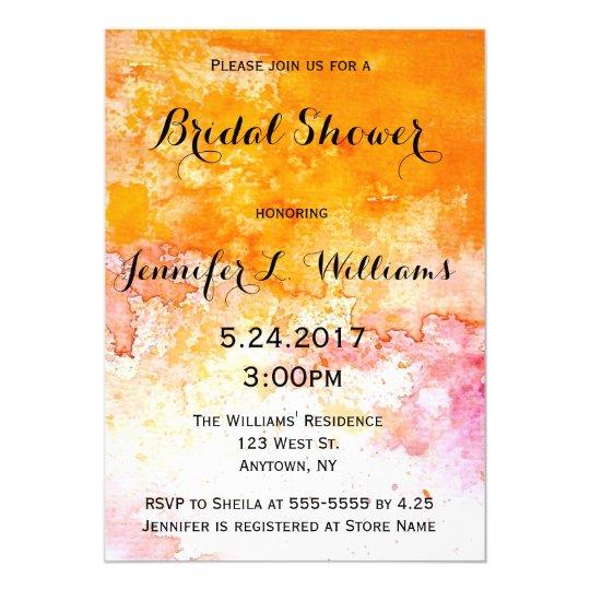 Orange watercolor bridal shower invitations