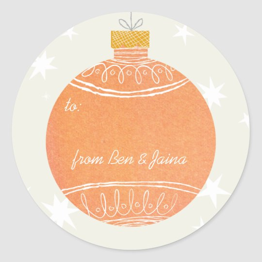 Orange Watercolor Ornament Christmas Holiday Gift Classic Round Sticker