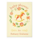 Orange Watercolor Rocking Horse Baby Shower 13 Cm X 18 Cm Invitation Card