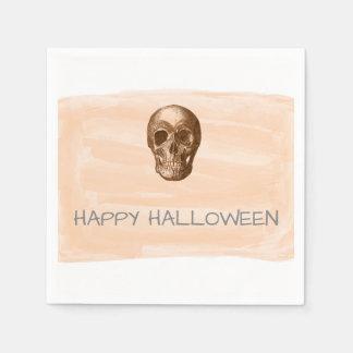 Orange Watercolor Skull Halloween Paper Napkins