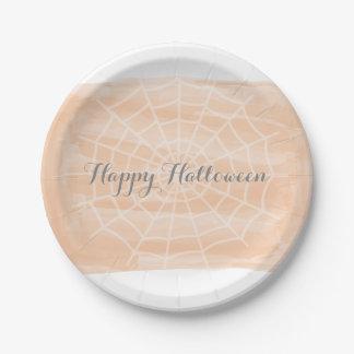 Orange Watercolor Spider Web Halloween Paper Plate