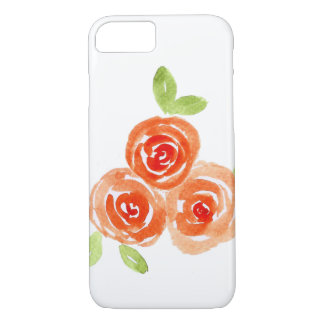 Orange watercolour roses iphone case