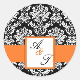 Orange Wedding Monogram Damask Seal