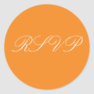 Orange Wedding RSVP Stickers