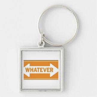 ORANGE WHATEVER ARROW ATTITUDE SHOUTOUT EXPRESSION Silver-Colored SQUARE KEY RING