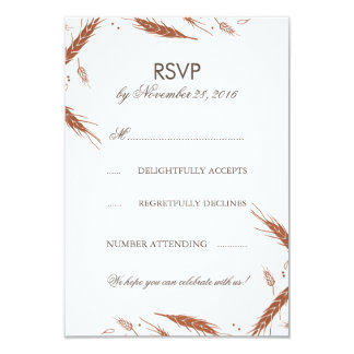 Orange Wheat Fall Wedding RSVP 9 Cm X 13 Cm Invitation Card