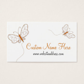 Orange Whimiscal Butterflies Business Card