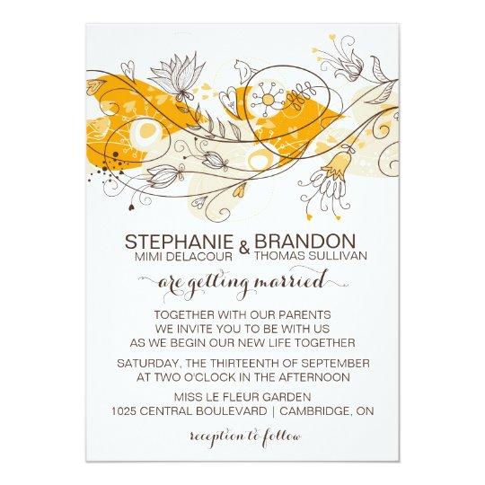 Orange Whimsical Hearts Flowers Wedding Invitation