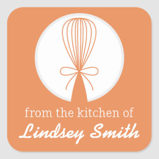 Orange Whisk Silhouette Kitchen Labels