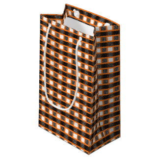 Orange, White and Black Static Weave Small Gift Bag