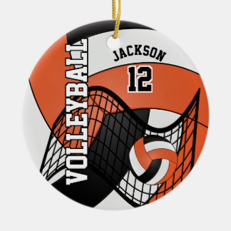 Orange, White & Black Personalize Volleyball Christmas Ornament