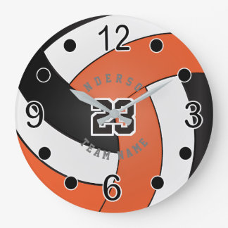 Orange, White & Black Volleyball Style - DIY Text Large Clock