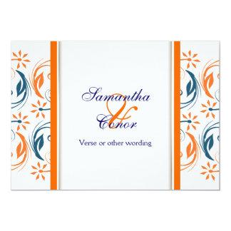 Orange white blue wedding anniversary 13 cm x 18 cm invitation card