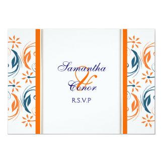 Orange white blue wedding anniversary 5x7 paper invitation card