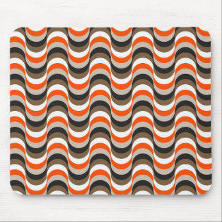 Orange, White, Brown Retro Fifties Abstract Art Mouse Pad
