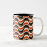 Orange, White, Brown Retro Fifties Abstract Art Two-Tone Mug