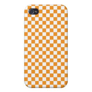 Orange & White Checkerboard Cover For iPhone 4
