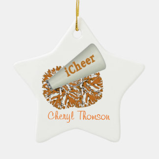 Orange & White Cheerleader ornament