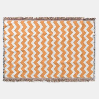 Orange White Chevron Pattern Throw Blanket