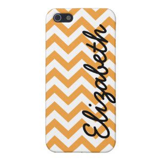 Orange White Chevron Pern iPhone 5 Covers