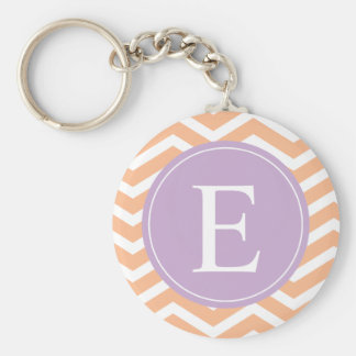 Orange White Chevron Purple Monogram Basic Round Button Key Ring