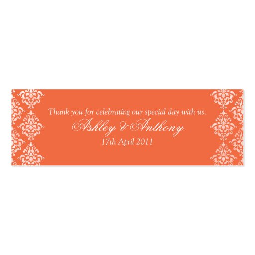 Orange White Damask Floral Wedding Favour Tags Business Card