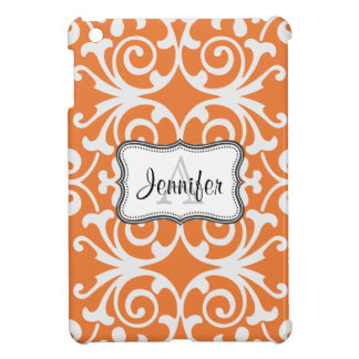 Orange & White Damask monogram iPad mini case