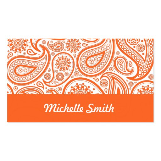 Orange White Floral Paisley Pattern Business Card