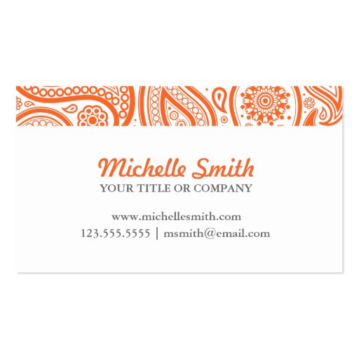 Orange White Floral Paisley Pattern Business Card Template