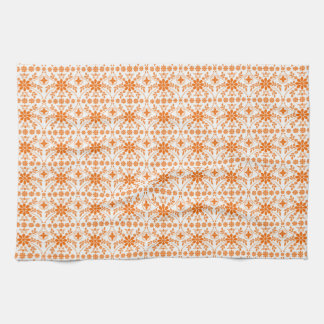 Orange White Floral Tea Towel
