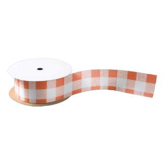 Orange White Gingham Pattern Satin Ribbon