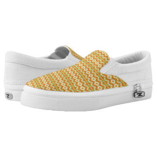 Orange, White & Green Geometric Pattern Slip-On Shoes