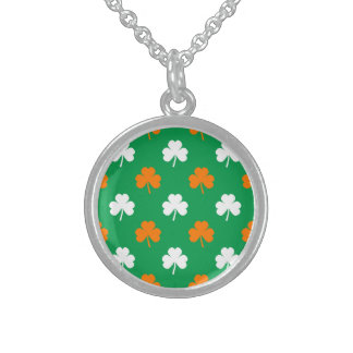 Orange & White Heart Clover on Green St. Patrick's Sterling Silver Necklace