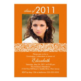 Orange White Photo Graduation Invitation