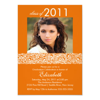 Orange & White Photo Graduation Invitation