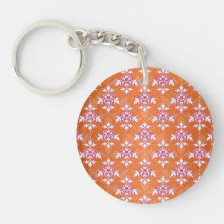 Orange White Pink Damask Pattern Single-Sided Round Acrylic Key Ring