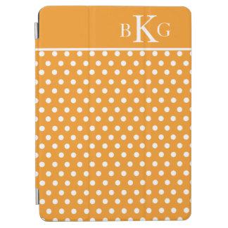 Orange White Polka Dots Custom Monogram iPad Air Cover