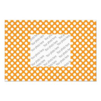 Orange white polka dots photo print
