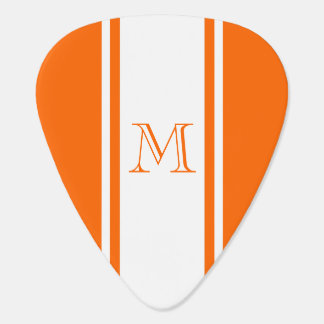 Orange & White Racer Stripe Monogram Guitar Pick