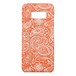 Orange & White Retro Paisley Damasks Pattern Case-Mate Samsung Galaxy S8 Case