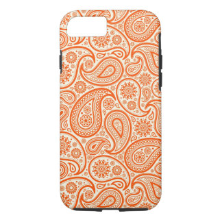 Orange & White Retro Paisley Pattern iPhone 7 Case